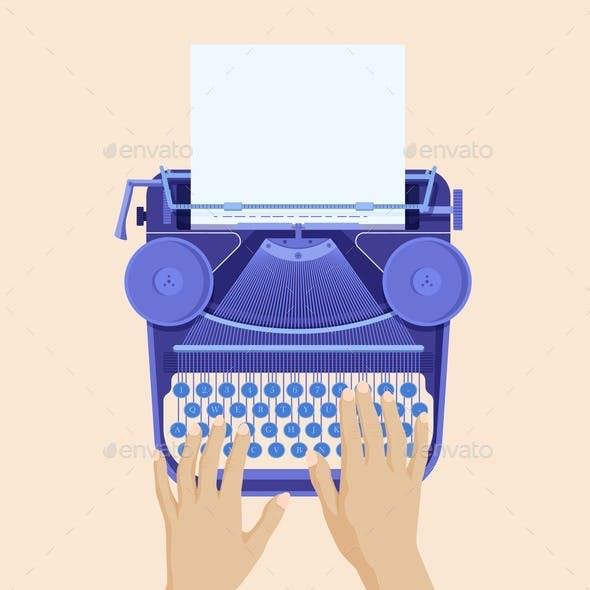Hands Typing on Retro Typewriter