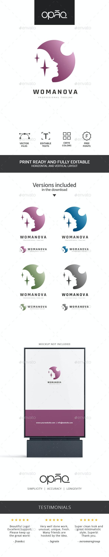 Woman Circle Night Logo - Humans Logo Templates