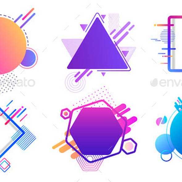 Colored Banners Different Geometric Shapes