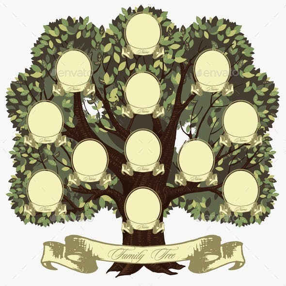 Cartoon Genealogical Family Tree with Lettering