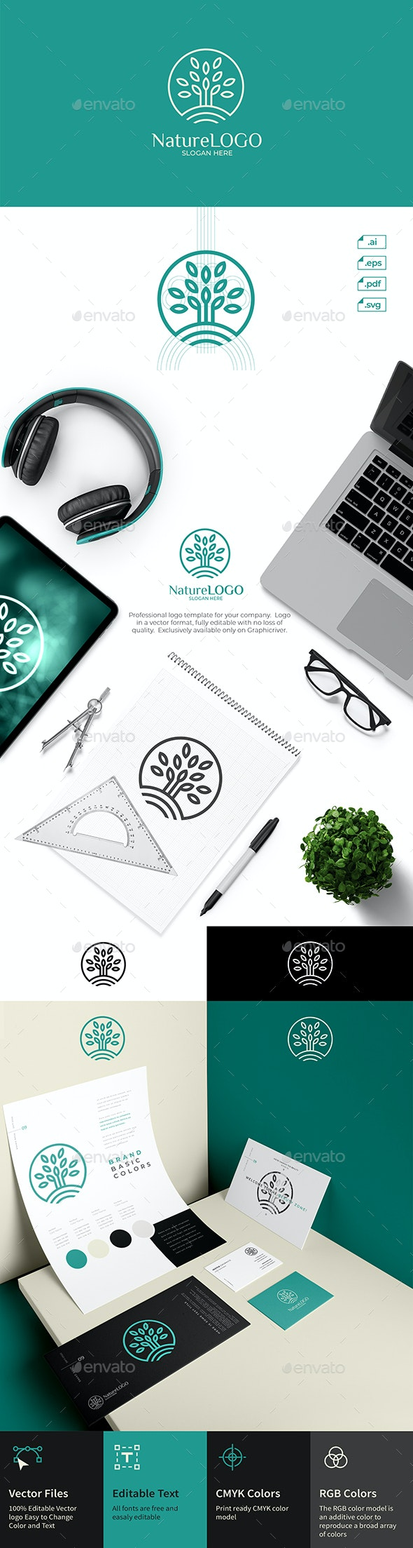 Nature Tree Leaf Logo Design - Nature Logo Templates