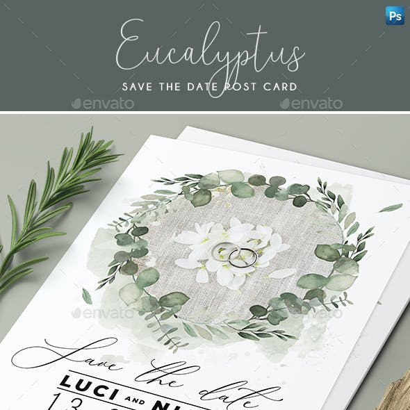 Eucalyptus Save the Date Post Card