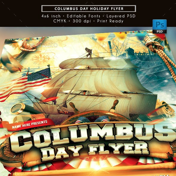 Columbus Day Holiday Flyer
