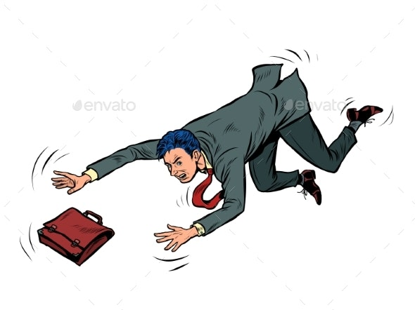 The Businessman Falls Failure Problem Bankruptcy - People Characters
