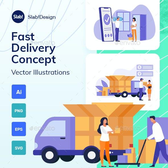 Fast Delivery Service Flat Illustration
