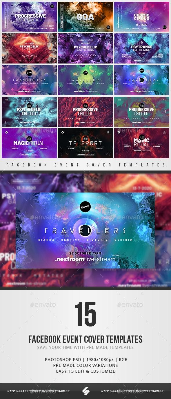 Electronic Music Facebook Event Cover Templates Bundle 7 - Social Media Web Elements