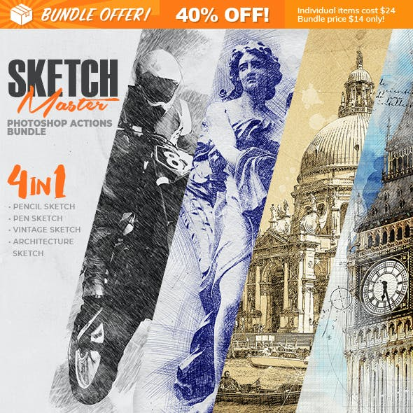 4-in-1 Sketch Master Photoshop Action Bundle