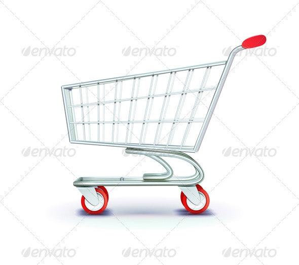 Supermarket Shopping Cart - Objects Vectors