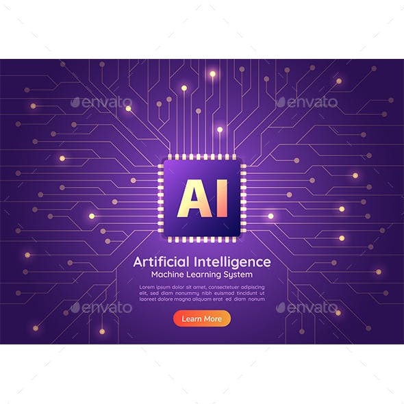 Web Banner Artificial Intelligence Ai Chip on Computer Circuit Board