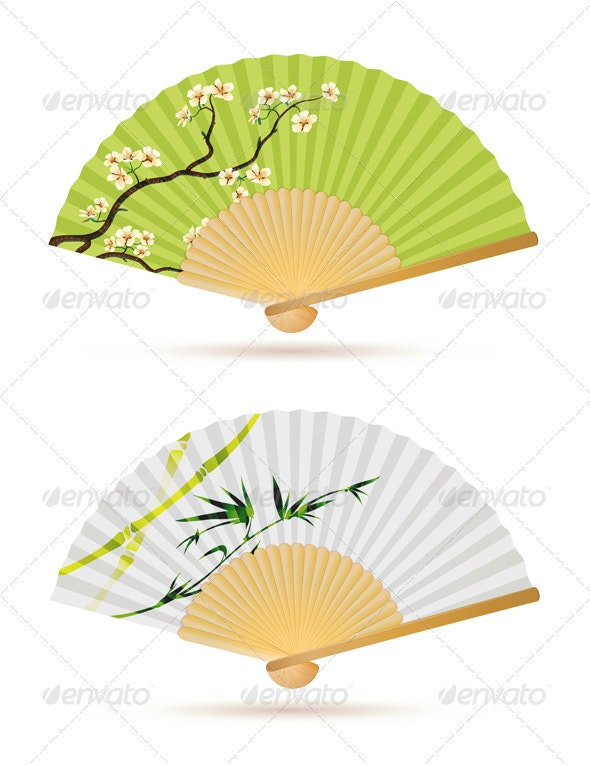 Folding Fans - Decorative Vectors