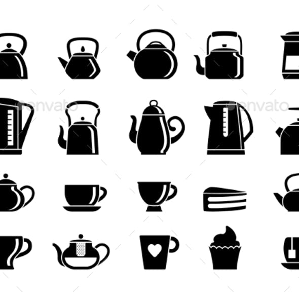 Teapots and Electric Kettles Silhouette Set