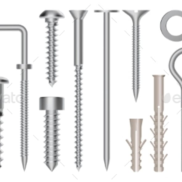 Realistic 3d Screws and Bolts. Hardware Stainless