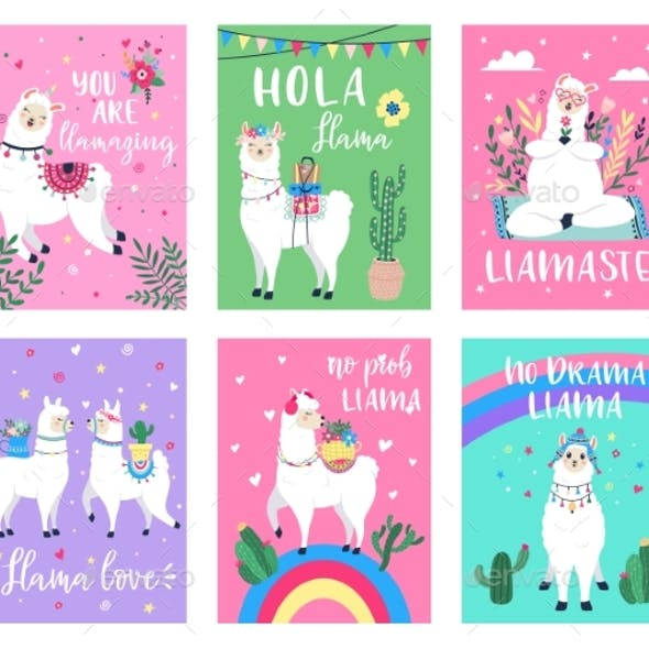 Llama Poster. Alpaca Greeting Cards