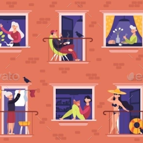 People in Windows. Neighbors Characters