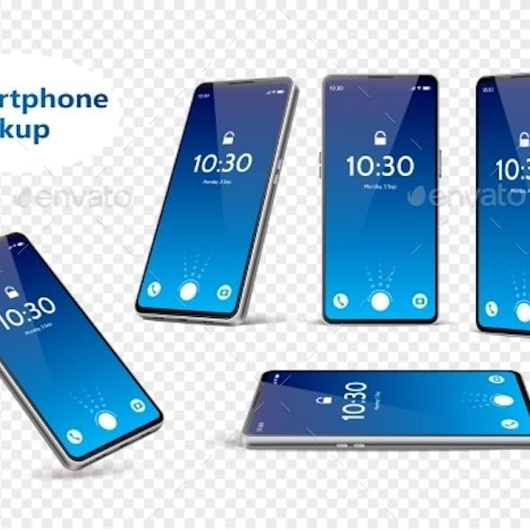 Vector Blue Frameless Smartphone Mockup Set 3d