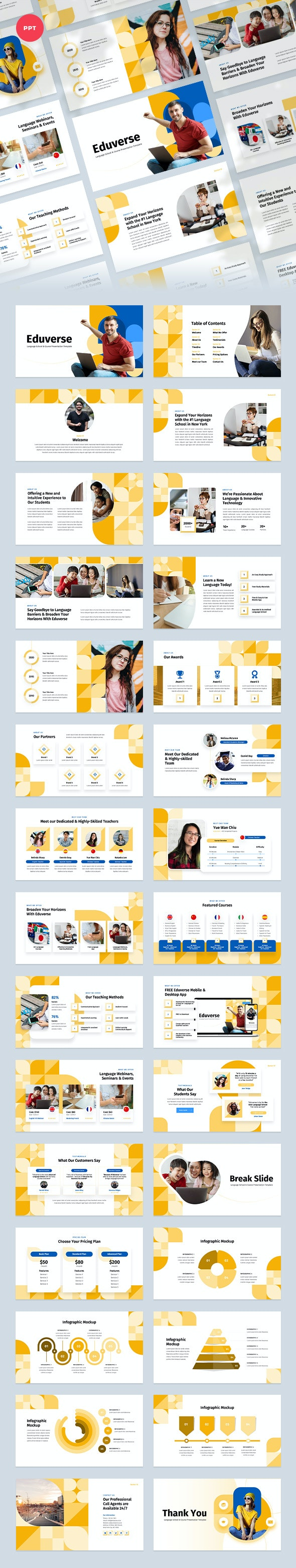 Eduverse - Language Course PowerPoint Template - Business PowerPoint Templates