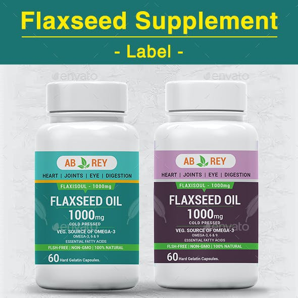 Flaxseed Supplement Label Template -Fountain Blue & Purple