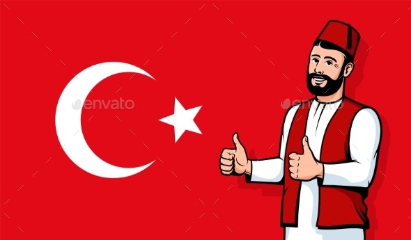 Turkish Man in Fez Smiling on Turkey Flag - Miscellaneous Vectors