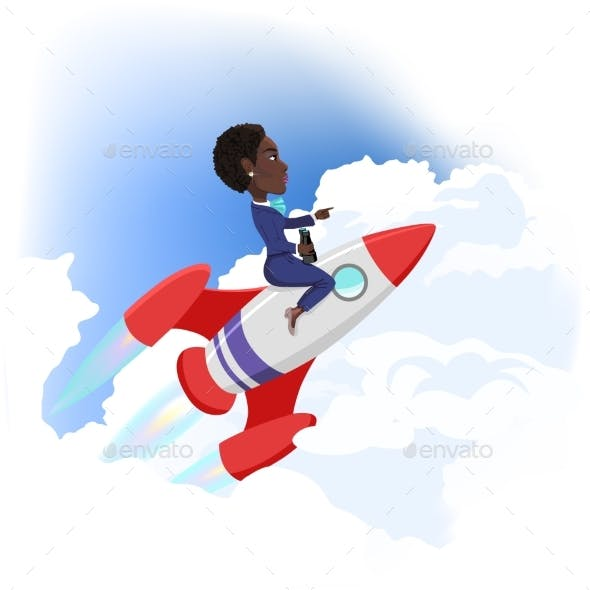 Businesswoman Flying Up on Space Rocket. Success