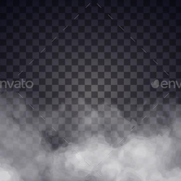 White Fog or Smoke on Dark Copy Space Background.