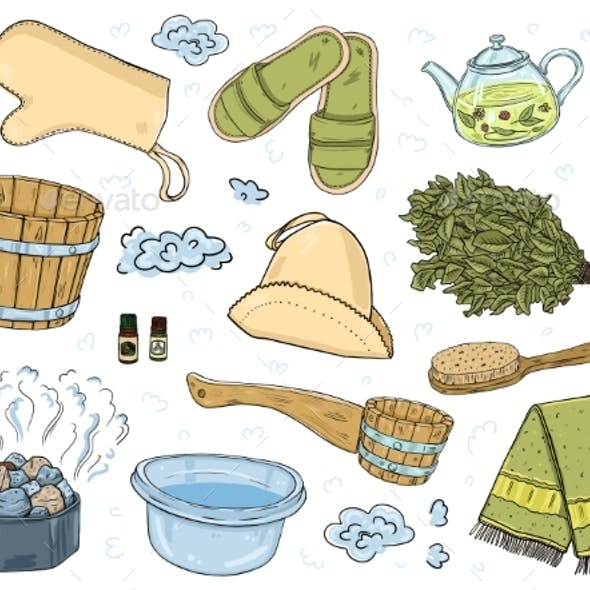A Set of Items for the Sauna. Isolated Objects on