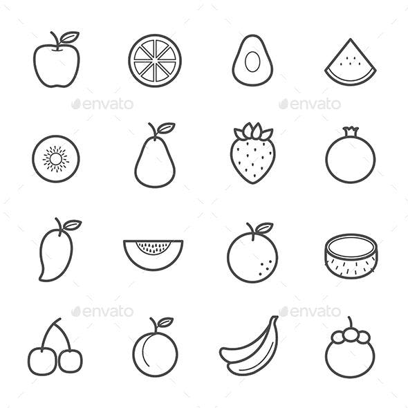 Simple Icon Set of Fruit icon outline stroke vector illustration on white background