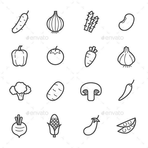 Simple Set of Vegetable icon outline stroke vector illustration on white background - Icons