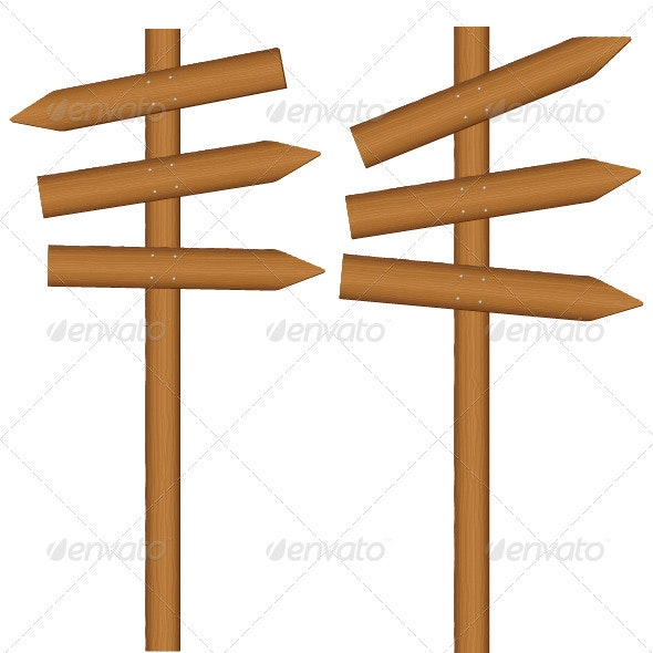 Wooden Sign Post - Objects Vectors