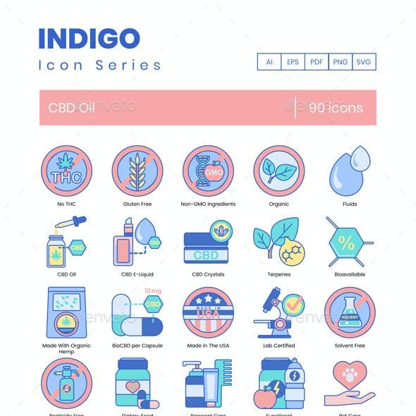 90 CBD Oil Icons - Indigo Series
