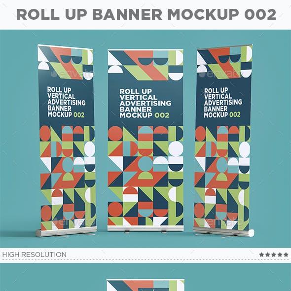 Roll Up Vertical Advertising Banner Mockup 002
