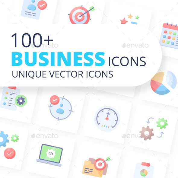 Business Icons Flat Vectors