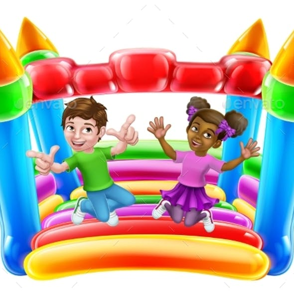 Bouncy House Castle Jumping Girl Boy Kids Cartoon