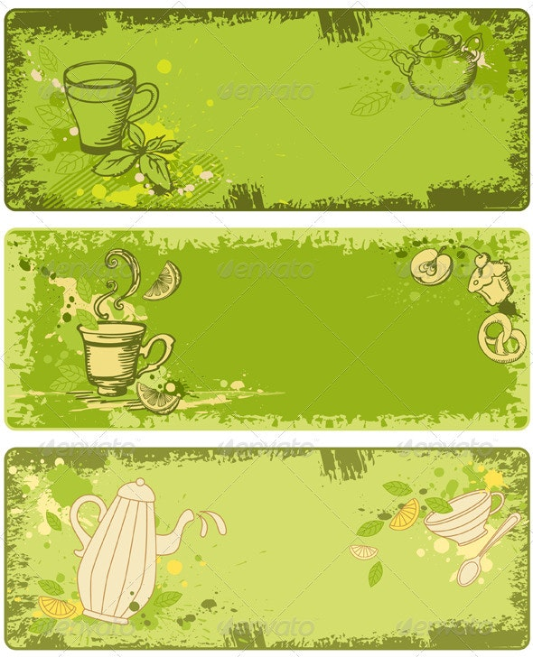 Set of Green Tea Banners - Food Objects