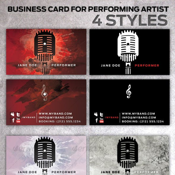 Business Card for Performing Artists in 4 Styles