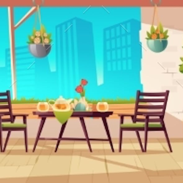 Summer Terrace, Outdoor City Cafe or Coffeehouse