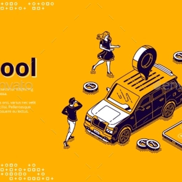 Carpool Isometric Landing Page Car for Joint Trip