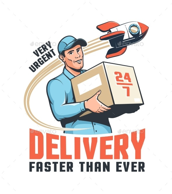 Delivery Service Retro Illustration with Courier Holding - Man-made Objects Objects