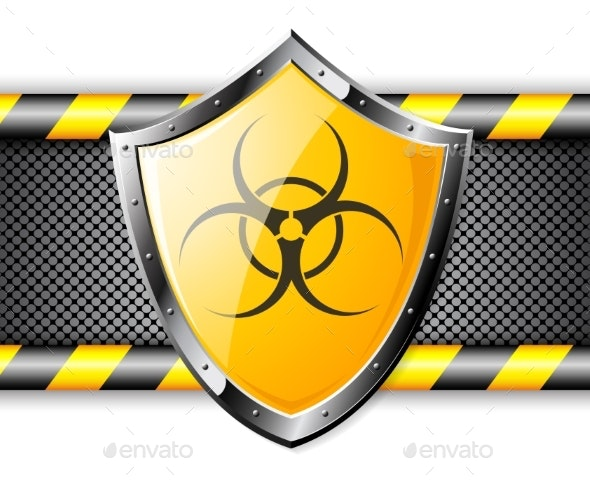 Gold Shield with Biohazard Sign Over Steel - Miscellaneous Vectors