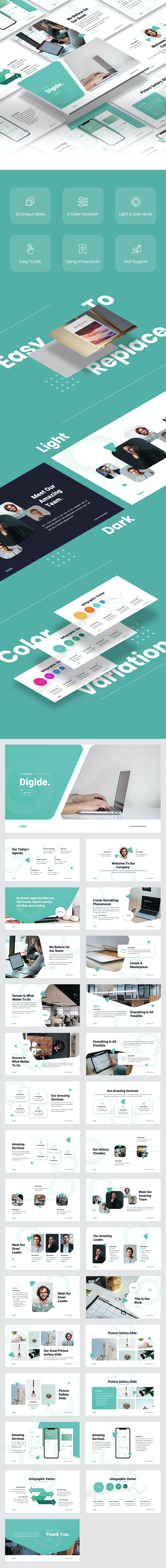 Digide - Startup PowerPoint Template - Business PowerPoint Templates