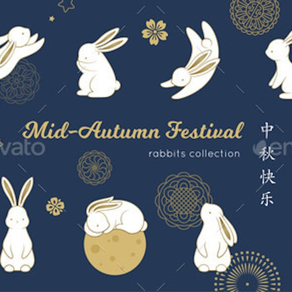 Happy Rabbit Set Mid-Autumn Festival Elements