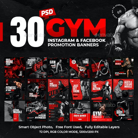 30-Instagram & Facebook Fitness GYM Banners