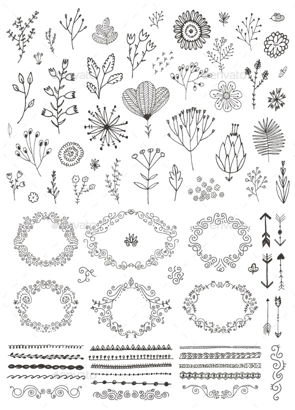 Vector Set of Hand Drawn Doodle Flowers - Flowers & Plants Nature