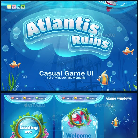 Atlantis Ruins - Casual Game UI