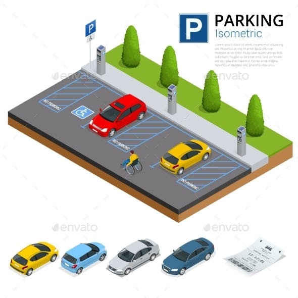 Isometric Cars in the Parking Lot or Car Parking