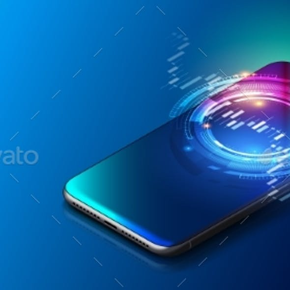 Modern Mobile Cell Phone on Colorful Background