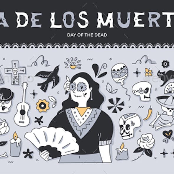 Day of the Dead Doodle Illustration
