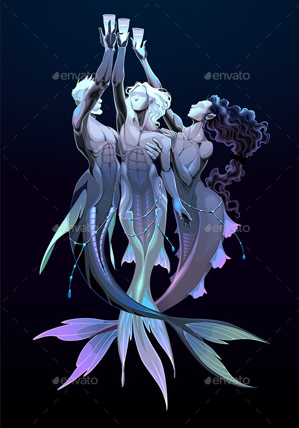 Three of Cups Tarot Card Group of Mermaids - Miscellaneous Characters