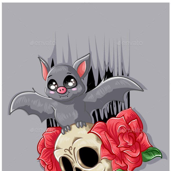 Bat on the Skull Face with Two Rose