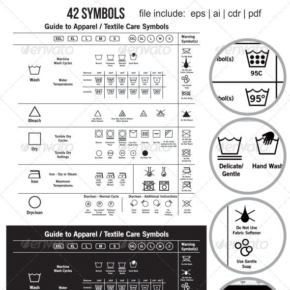 42 Textile Care Label Symbols