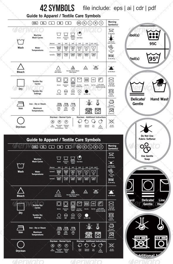 42 Textile Care Label Symbols - Miscellaneous Vectors